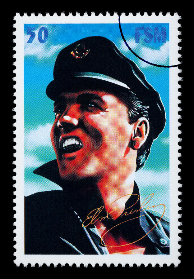Elvis Presely Postage Stamp. FEDERATED STATES MICRONESIA - CIRCA 2000: A postage stamp printed in FSM showing Elvis Presley, circa 2000 royalty free illustration
