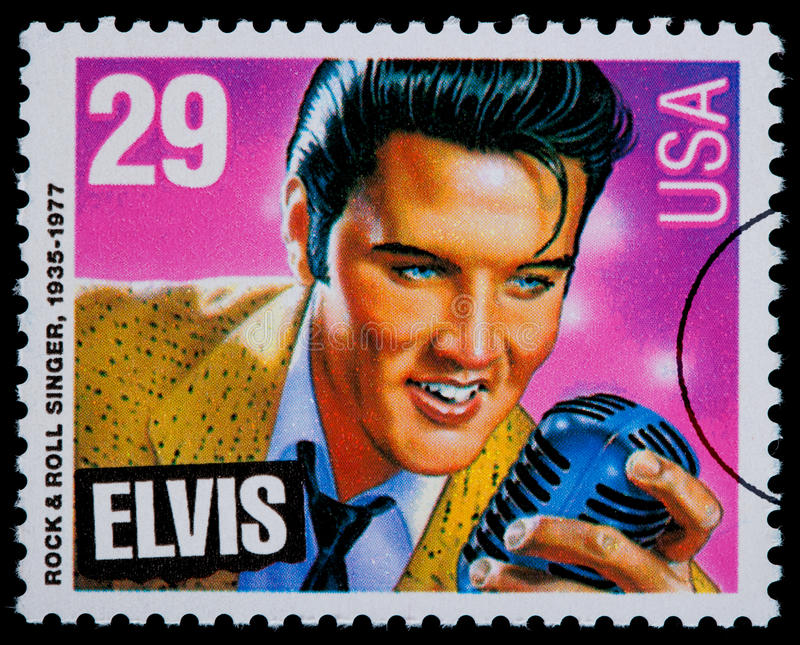 Elvis Presely Postage Stamp. UNITED STATES AMERICA - CIRCA 1980: A postage stamp printed in USA showing Elvis Presley, circa 1980 vector illustration