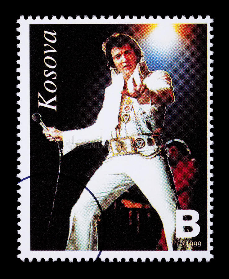 Elvis Presely Postage Stamp. REPUBLIC OF KOSOVO - CIRCA 1999: A postage stamp printed in the Republic Of Kosovo showing Elvis Presley, circa 1999 stock illustration