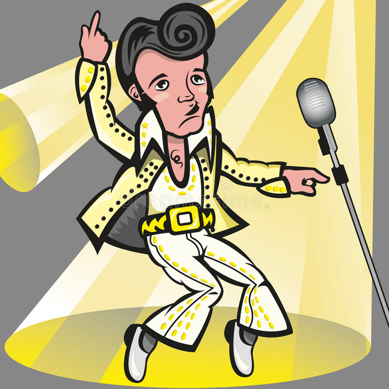 Elvis presley. This illustration represents the singer Elvis Presley the pelvis, with his white suit. In this file no transparency used, gradient used in the royalty free illustration