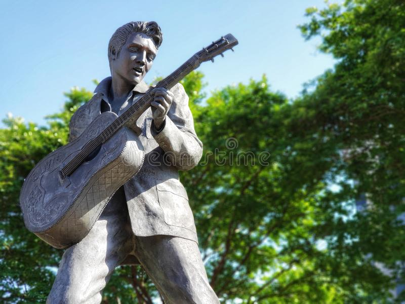 Elvis Presley Downtown Memphis, Tennessee Statue stock images