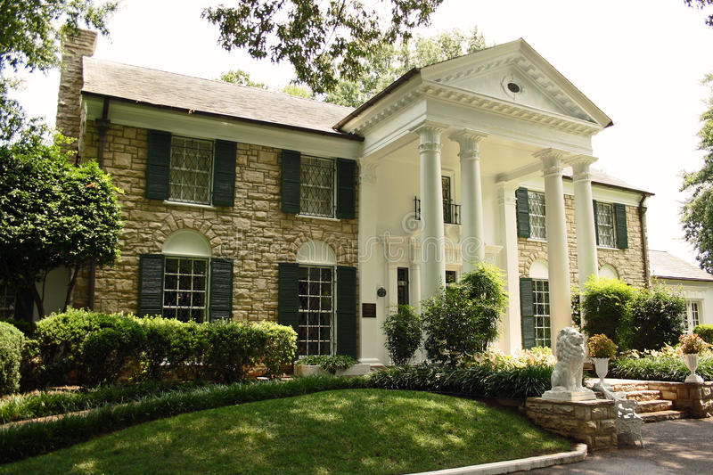 Elvis Presley Graceland Mansion in Memphis. A front of the Elvis Presleys beloved Graceland Mansion in Memphis, Tennessee, US