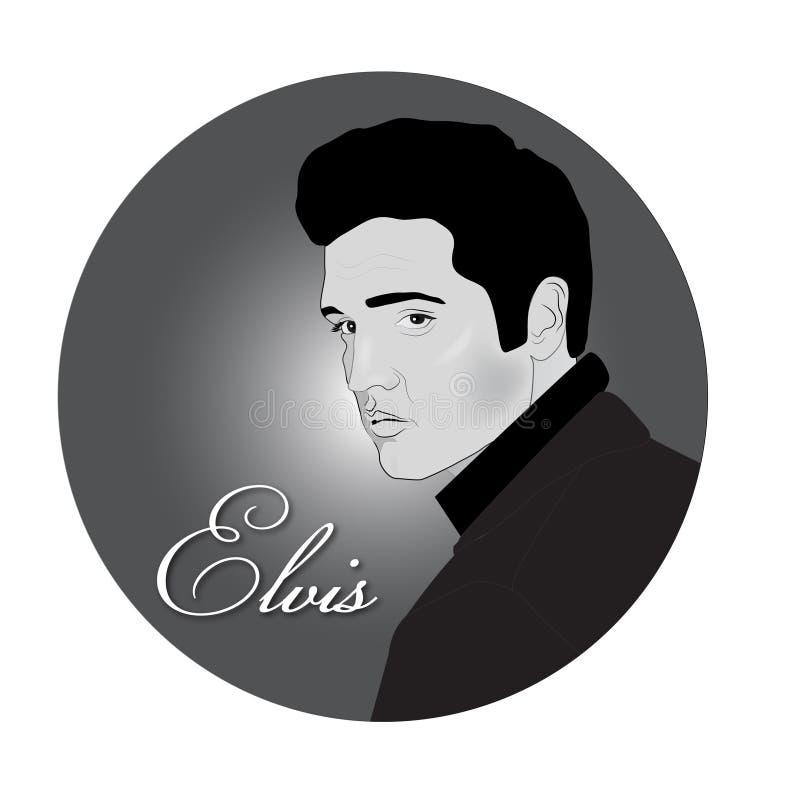 Elvis Presley portret czarny i biały ilustracji