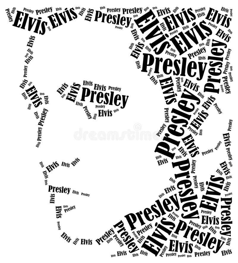 Elvis Presley portret Słowo obłoczna ilustracja royalty ilustracja