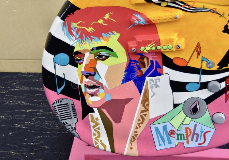 Elvis Presley Portriat Painted op een Gitaar stock foto