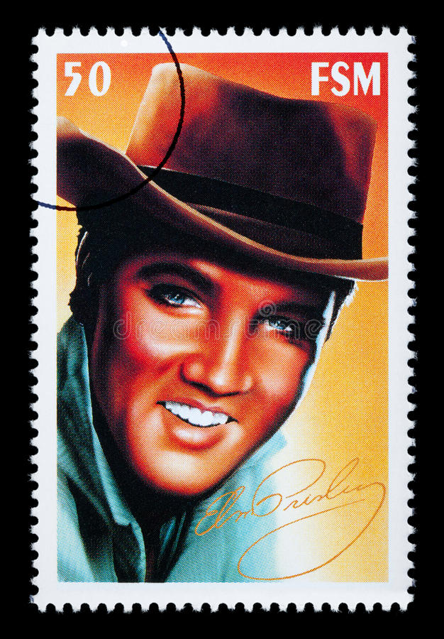 Elvis Presley Postage Stamp. FEDERATED STATES MICRONESIA - CIRCA 2000: A postage stamp printed in FSM showing Elvis Presley, circa 2000 vector illustration