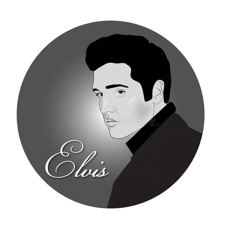 Elvis Presley portrait black and white. Elvis Presley rock and roll style fashion icon rockabilly black and white portrait stock illustration