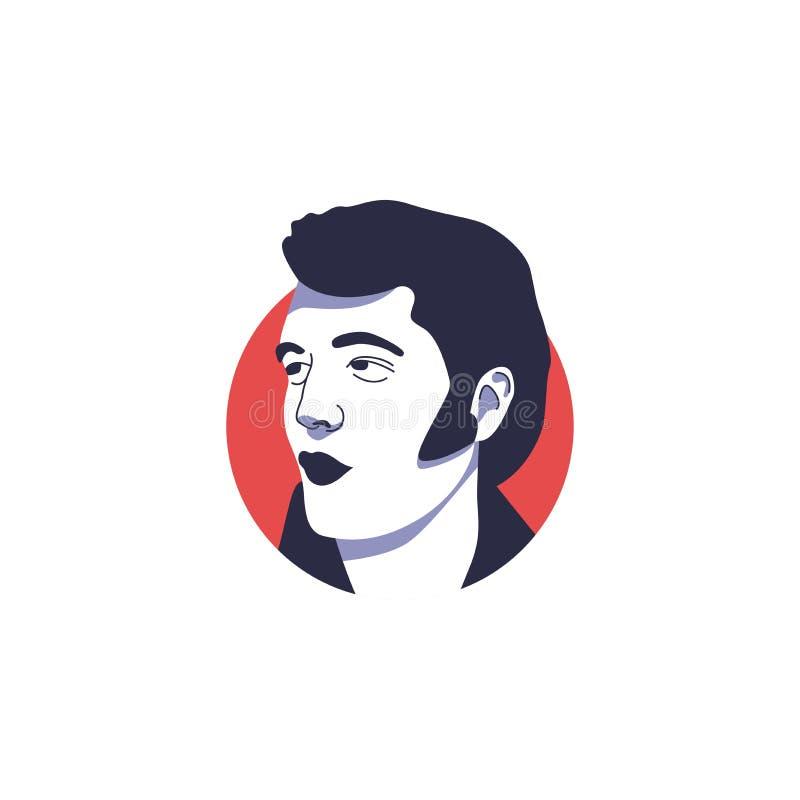 Elvis Presley stawia czoło wektor odizolowywającą ilustrację ilustracja wektor