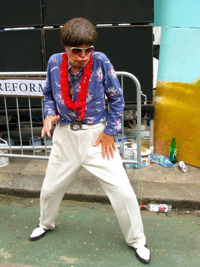 Elvisimpersonator bij Notting-Heuvel Carnaval in Londen stock afbeeldingen