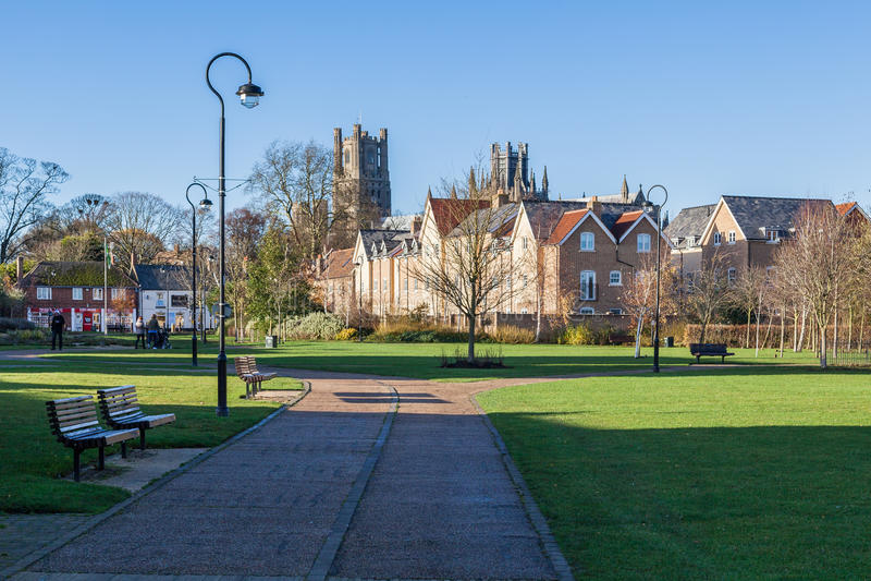 ELY, CAMBRIDGESHIRE/UK - 23. NOVEMBER: Ansicht fom der Fluss groß lizenzfreies stockbild