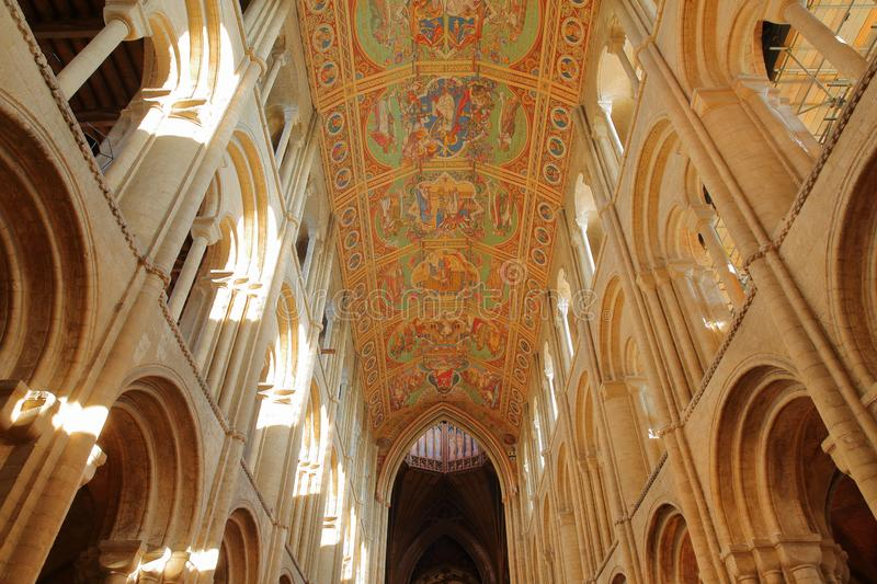 Wide angle view of the interior of the Cathedral with arches and the painted ceiling of the nave royalty free stock photos