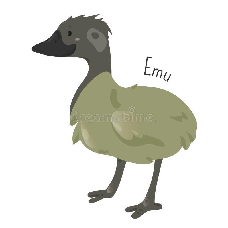Emú aislado en blanco Personaje de dibujos animados stock de ilustración