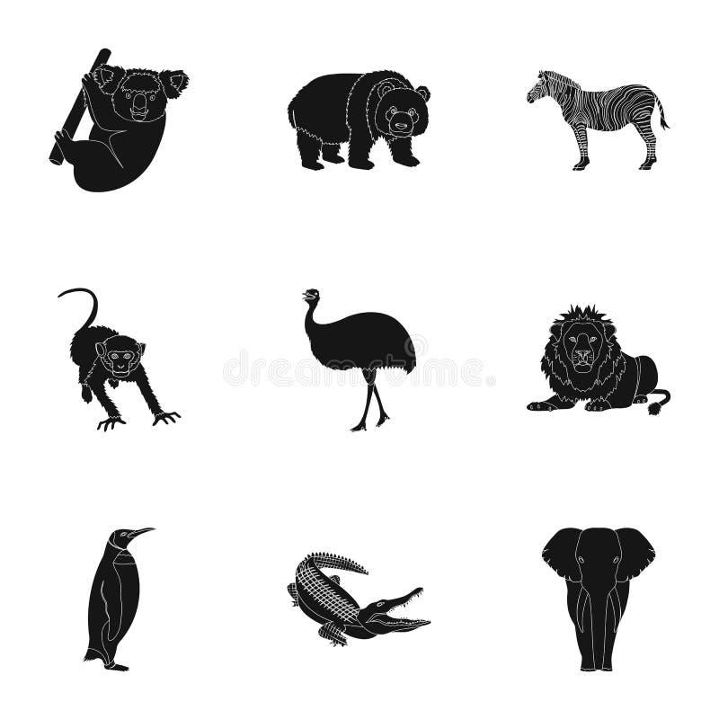 Emú de la avestruz, cocodrilo, jirafa, tigre, pingüino y otros animales salvajes Artiodactyla, depredadores mamíferos y animales stock de ilustración