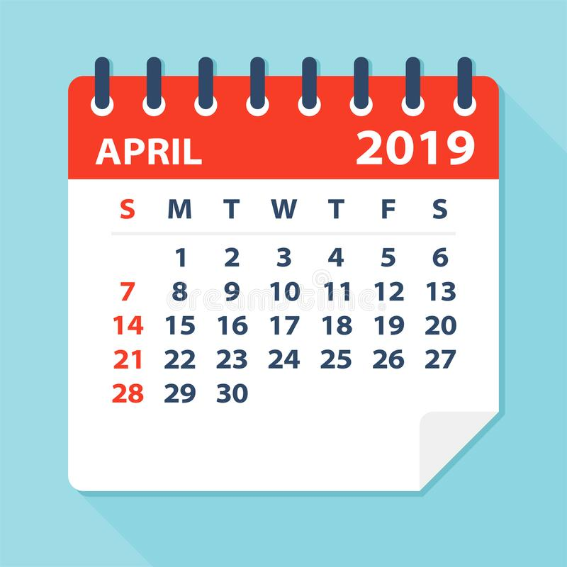 Em abril de 2019 folha do calendário - ilustração do vetor ilustração stock