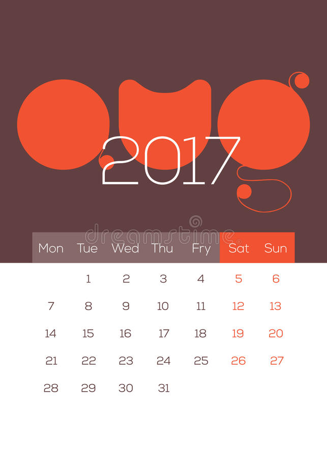 Em agosto de 2017 calendário - bonito, moderno, Fresn, limpo e fresco imagem de stock