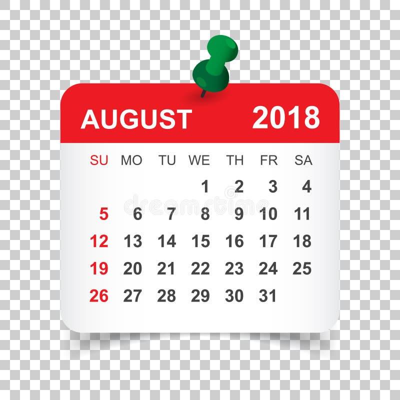 Em agosto de 2018 calendário Molde do projeto da etiqueta do calendário Sta da semana ilustração do vetor