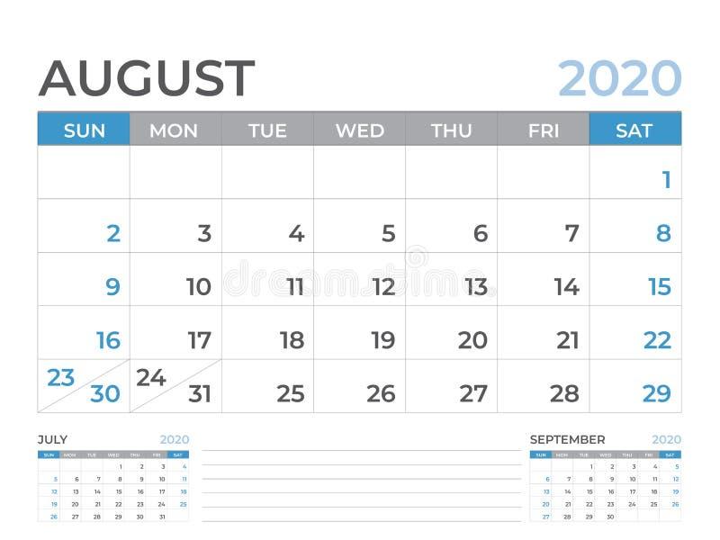 Em agosto de 2020 molde do calendário, tamanho da disposição de calendário da mesa 8 x 6 polegadas, projeto do planejador, começo ilustração do vetor