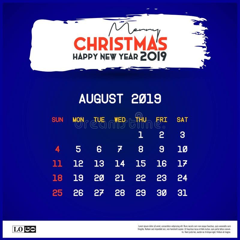 Em agosto de 2019 molde do calend?rio Feliz Natal e fundo do azul do ano novo feliz ilustração stock