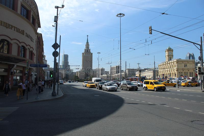 Em agosto de 2018 Quadrado de Komsomolskaya Ideia geral do quadrado imagens de stock royalty free