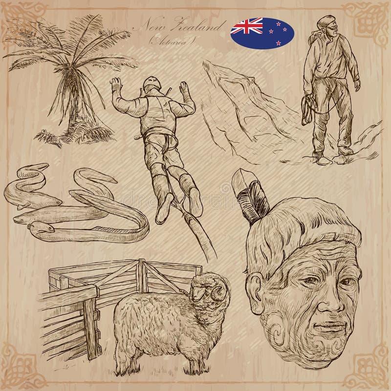 Em algum lugar em Nova Zelândia Imagens da vida Bloco do vetor Desenhos da mão ilustração royalty free