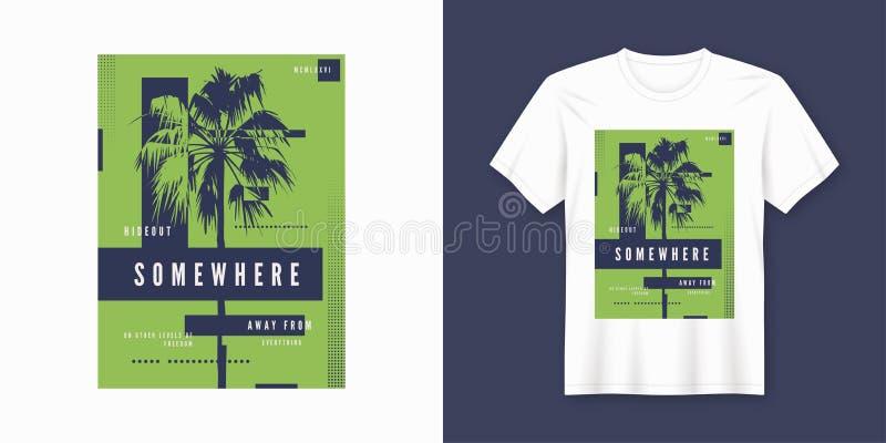 Em algum lugar projeto na moda do t-shirt e do fato com silho da palmeira ilustração do vetor