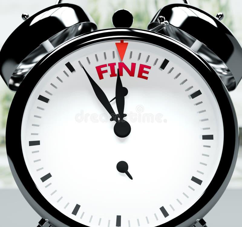 Em breve, quase lá, em pouco tempo - um relógio simboliza um lembrete de que a Fine está perto, acontecerá e terminará rapidament ilustração do vetor