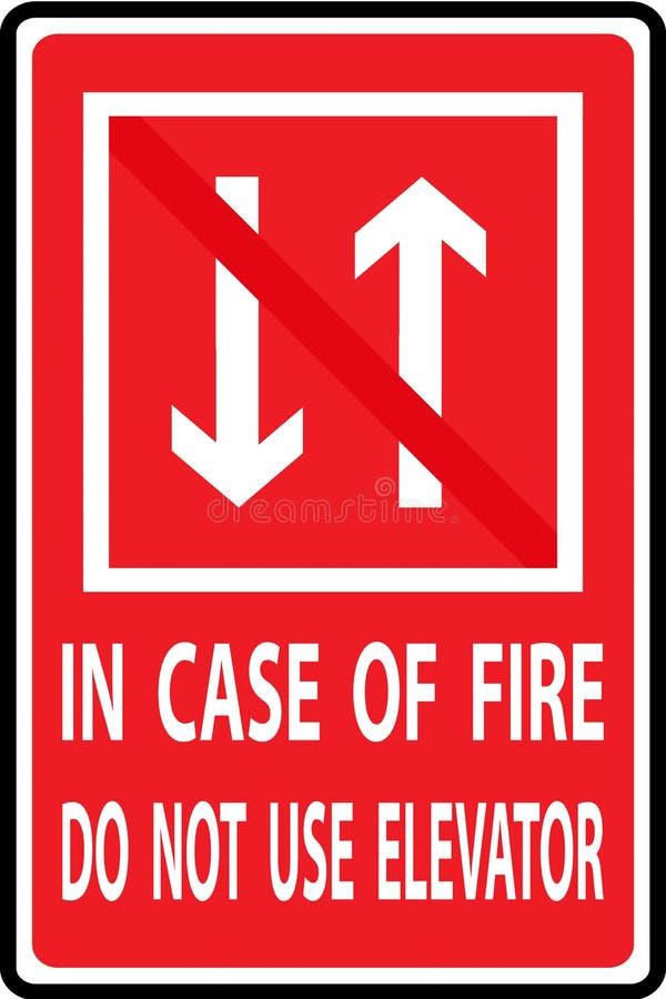 Em caso do fogo não use o elevador ilustração stock