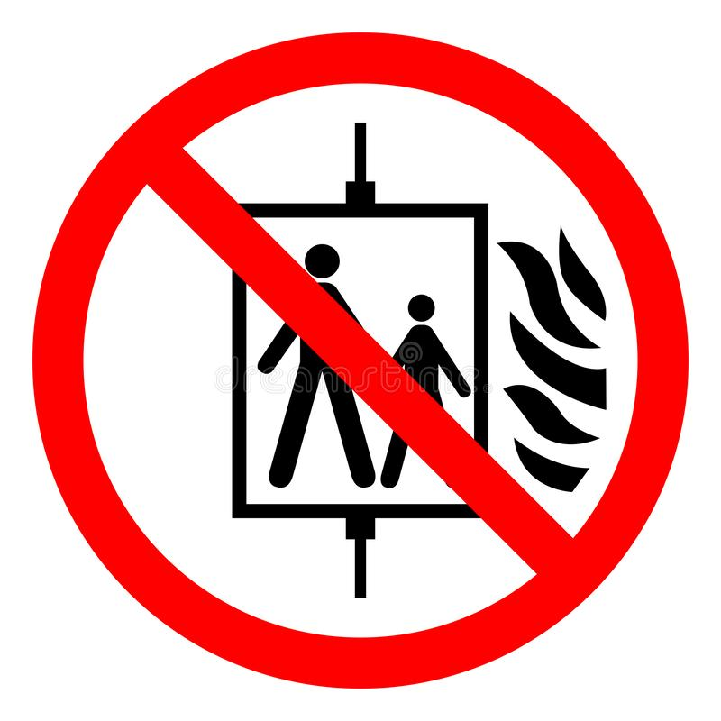 Em caso do fogo não use o sinal do símbolo do elevador, ilustração do vetor, isolado na etiqueta branca do fundo EPS10 ilustração do vetor