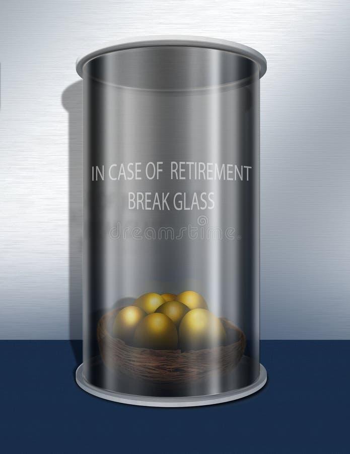 Em caso do vidro da ruptura da aposentadoria ilustração stock