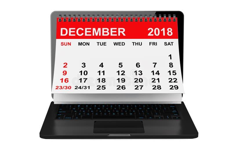 Em dezembro de 2018 calendário sobre a tela do portátil rendição 3d ilustração stock