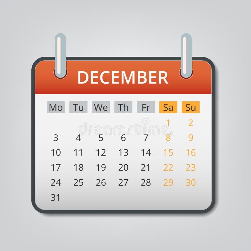 Em dezembro de 2018 fundo do conceito do calendário, estilo dos desenhos animados ilustração stock