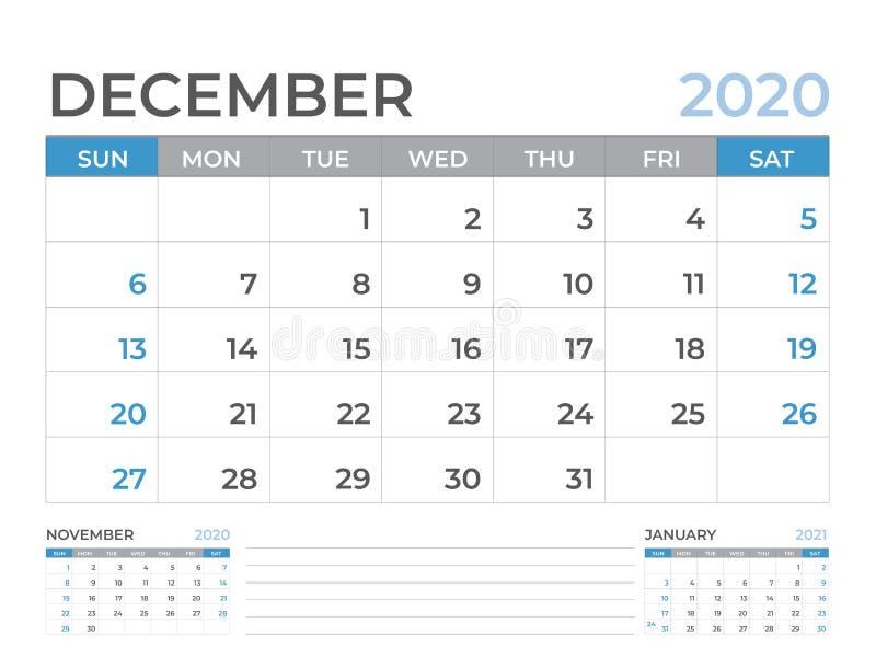 Em dezembro de 2020 molde do calendário, tamanho da disposição de calendário da mesa 8 x 6 polegadas, projeto do planejador, come ilustração stock