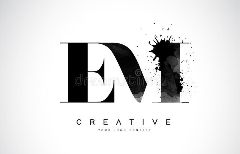EM E M Letter Logo Design con derramamiento negro del chapoteo de la acuarela de la tinta libre illustration