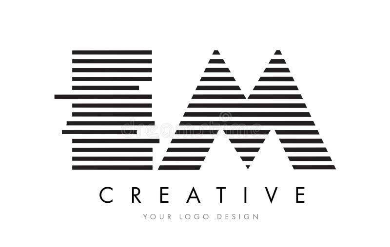 EM E M Zebra Letter Logo Design with Black and White Stripes royalty free illustration