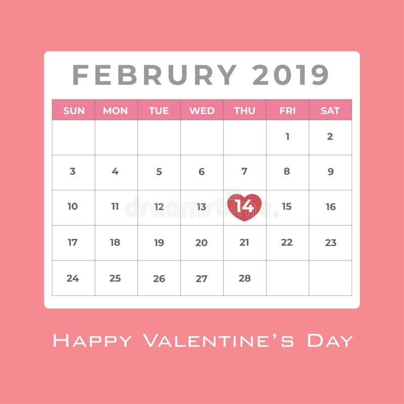 Em fevereiro de 2019 calendário com destaque vermelho do coração no dia 14 para o dia de Valentim ilustração royalty free