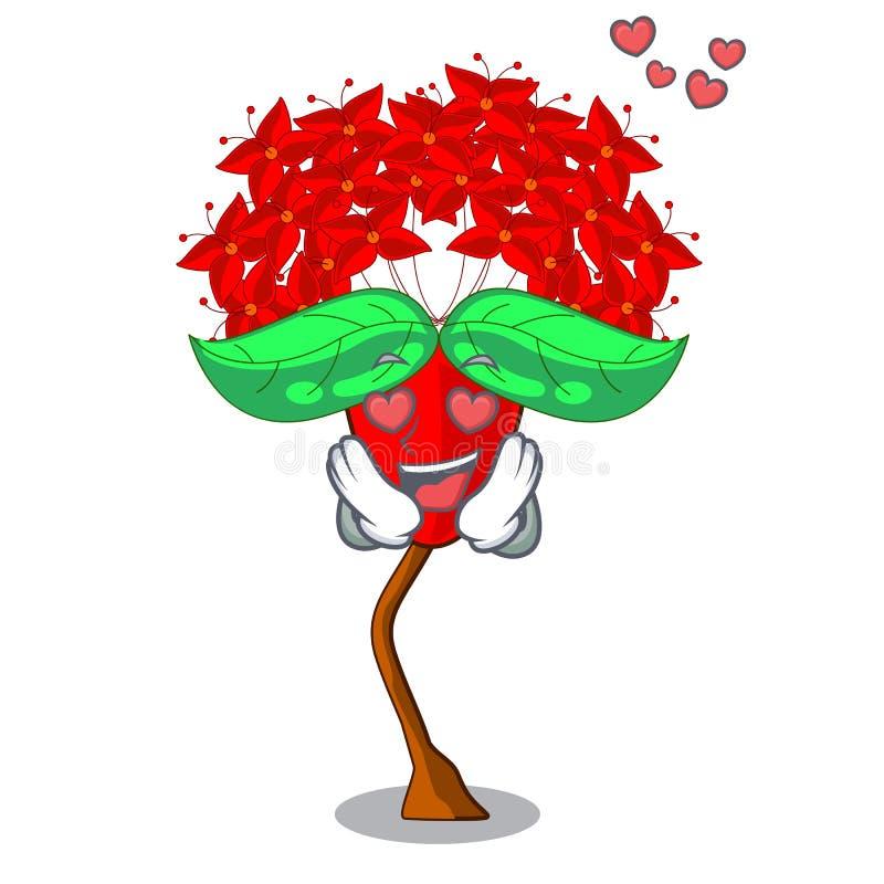 Em flores de Ixora do amor nos potenciômetros dos desenhos animados ilustração stock