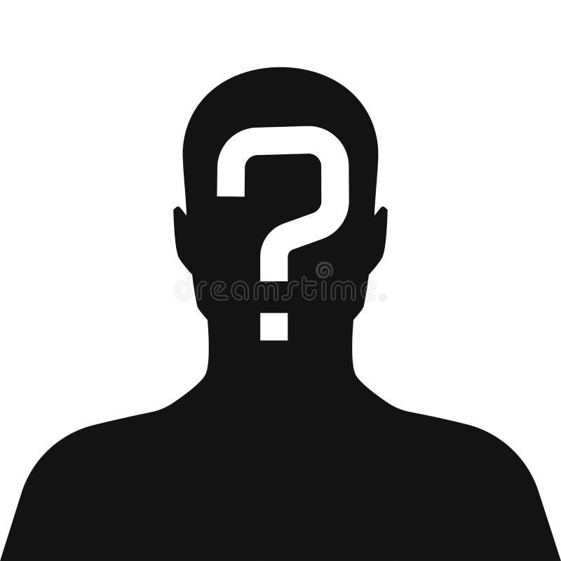 Em incógnito, pessoa desconhecida, silhueta do homem ilustração stock