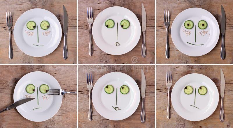 em inkasowe twarze matrycują różnorodnego warzywa obraz stock