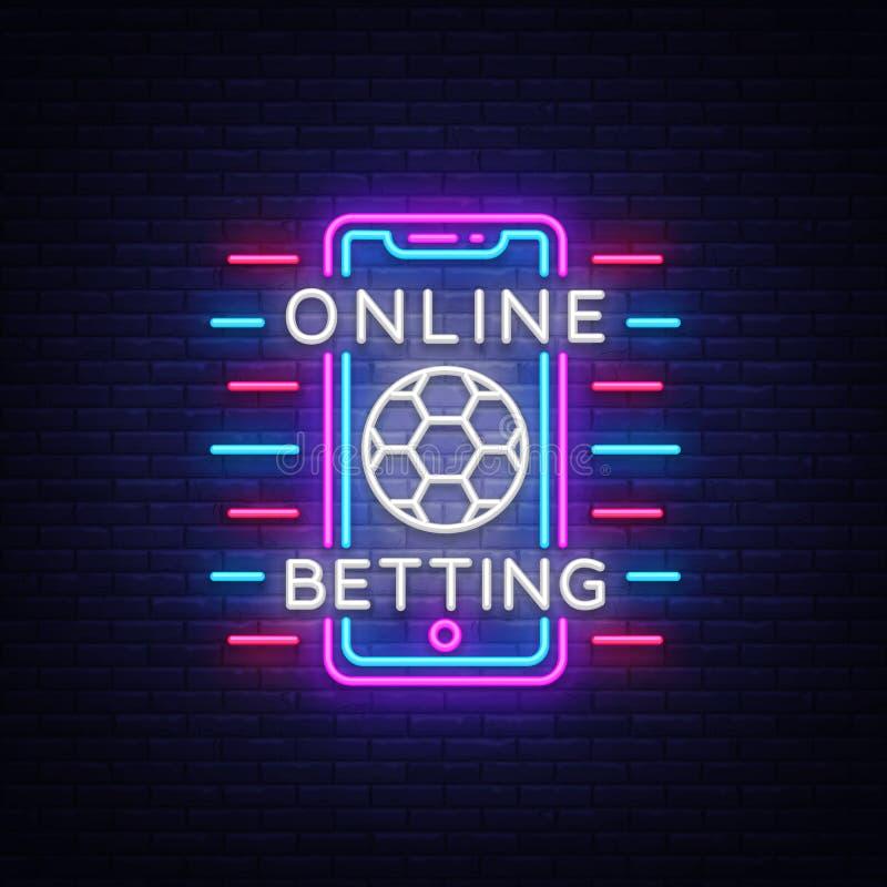 Em linha apostando o sinal de néon Aposta dos esportes Logotipo de aposta em linha, símbolo de néon, bandeira clara, propaganda b ilustração do vetor