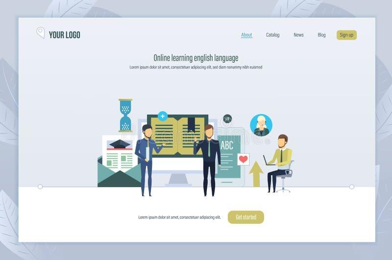 Em linha aprendendo a língua inglesa Treinamento da escola de língua, webinars, lições do Internet ilustração royalty free