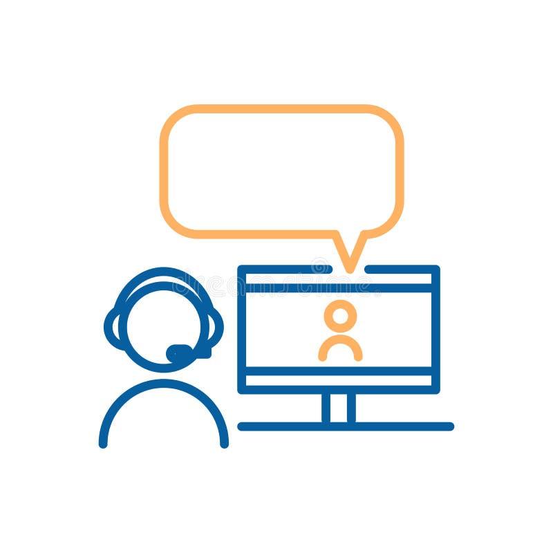 Em linha conversando com chamada video Linha fina projeto do vetor do ícone Conceito gráfico para em linha conversar, webinars ilustração stock