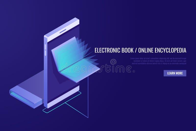 Em linha móvel, biblioteca Livro eletrônico Conceito em linha da enciclopédia Livros na exposição do telefone Estilo isométrico ilustração stock