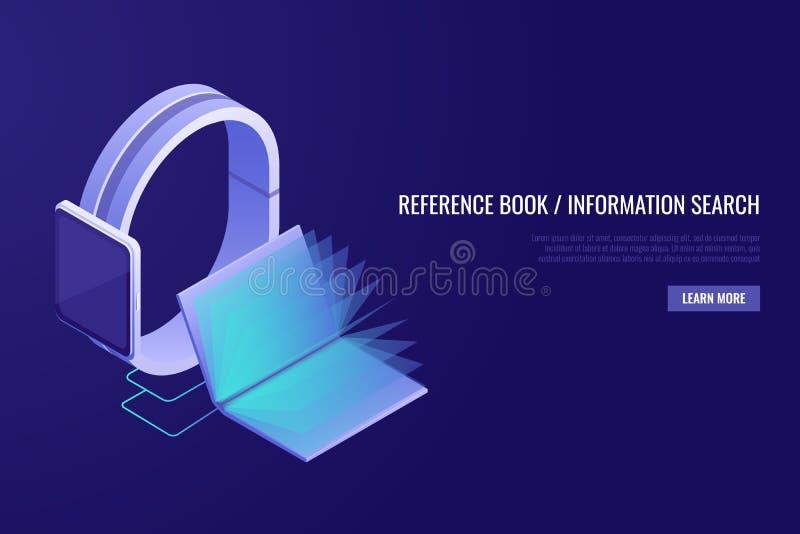 Em linha móvel, biblioteca Livro eletrônico Conceito em linha da enciclopédia Livros na exposição do telefone Estilo isométrico ilustração do vetor
