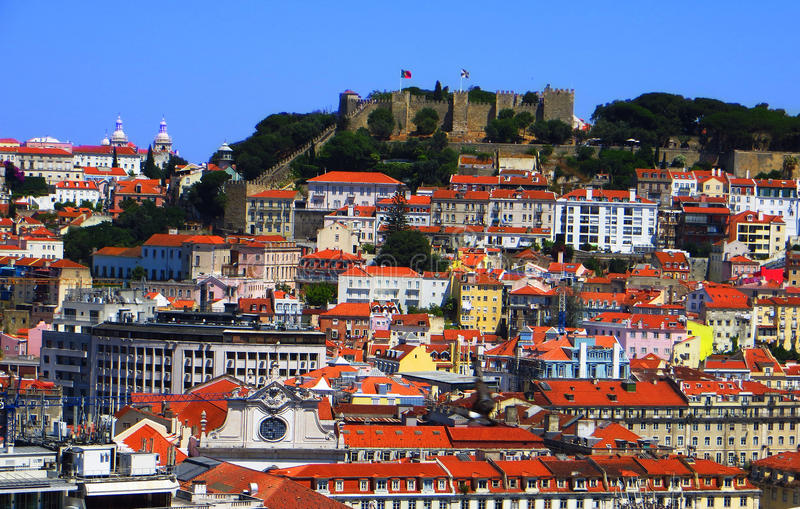 Em Lisboa de Castelo de Sao Jorge imagenes de archivo