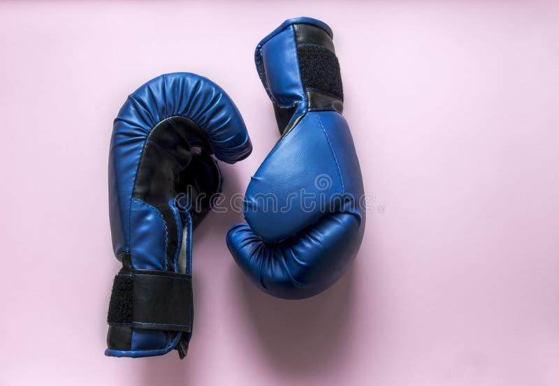Em luvas de encaixotamento cor-de-rosa do fundo dois da cor azul imagens de stock