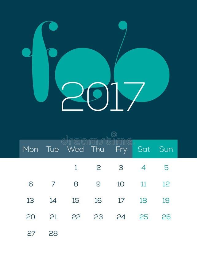 Em março de 2017 - calendário bonito, moderno, fresco, limpo e fresco imagens de stock