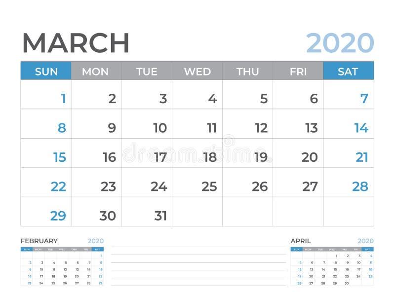 Em março de 2020 molde do calendário, tamanho da disposição de calendário da mesa 8 x 6 polegadas, projeto do planejador, começos ilustração stock