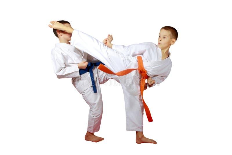 Em meninos de um fundo do branco os atletas treinam exercícios do karaté fotografia de stock royalty free