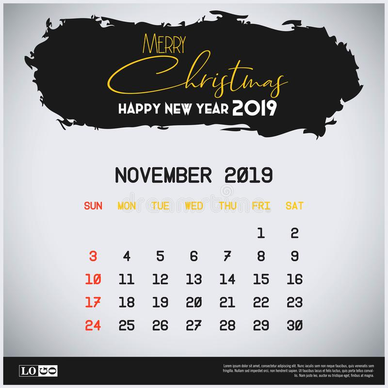 Em novembro de 2019 molde do calendário do ano novo Fundo do encabe?amento do curso da escova ilustração do vetor