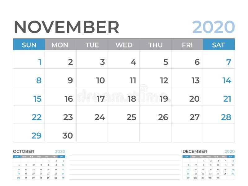 Em novembro de 2020 molde do calendário, tamanho da disposição de calendário da mesa 8 x 6 polegadas, projeto do planejador, come ilustração do vetor